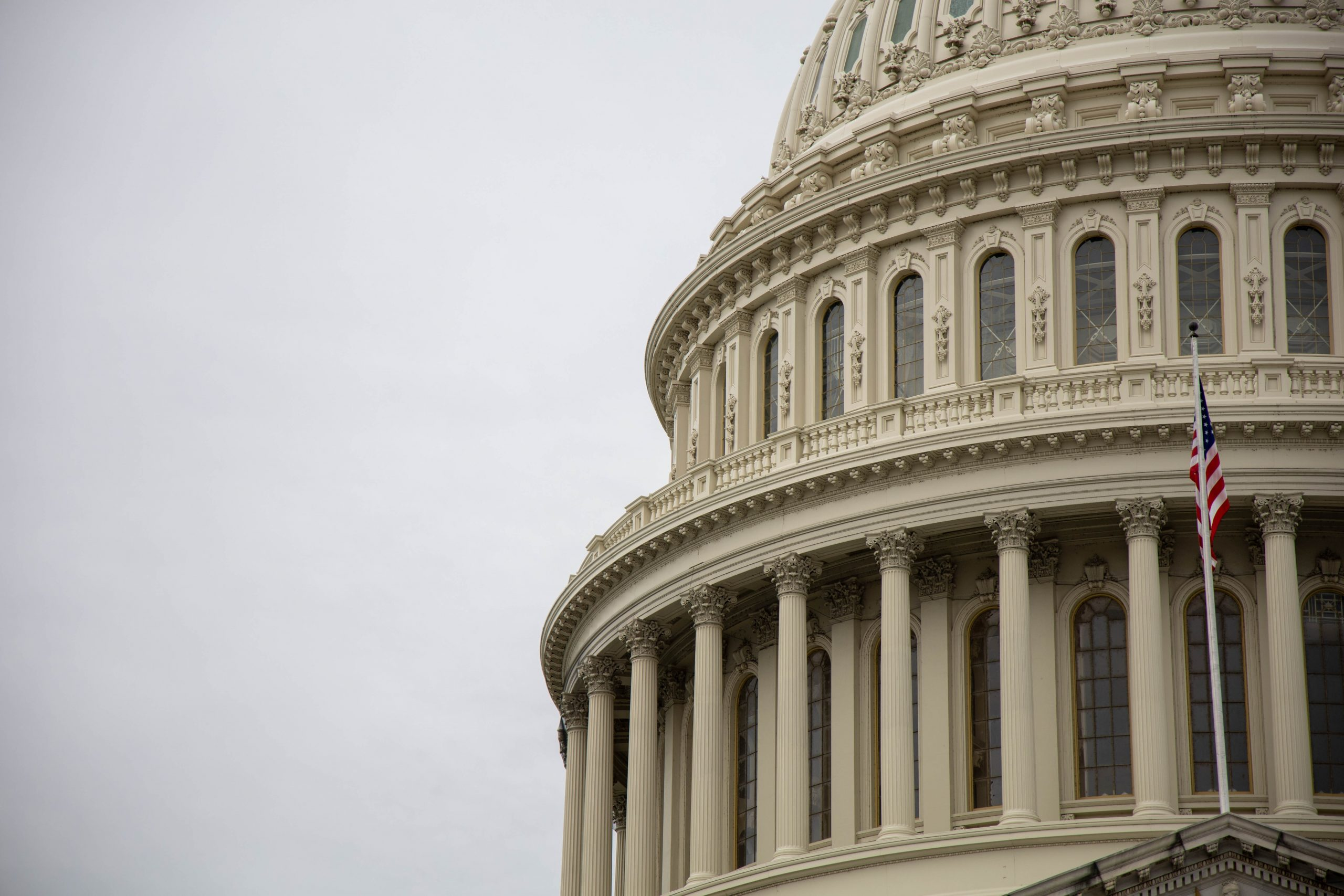 A close up photo of a portion of the US Capitol dome