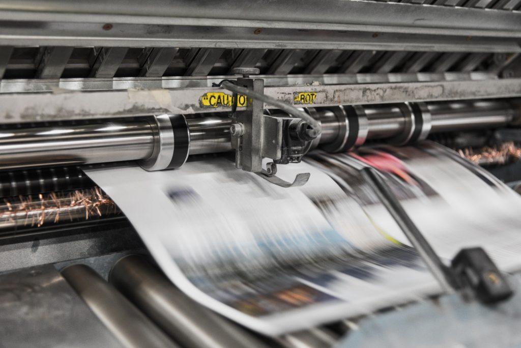 A newspaper printing machine