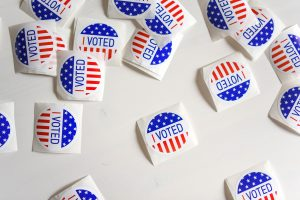 """Several """"I voted"""" stickers on a white background"""