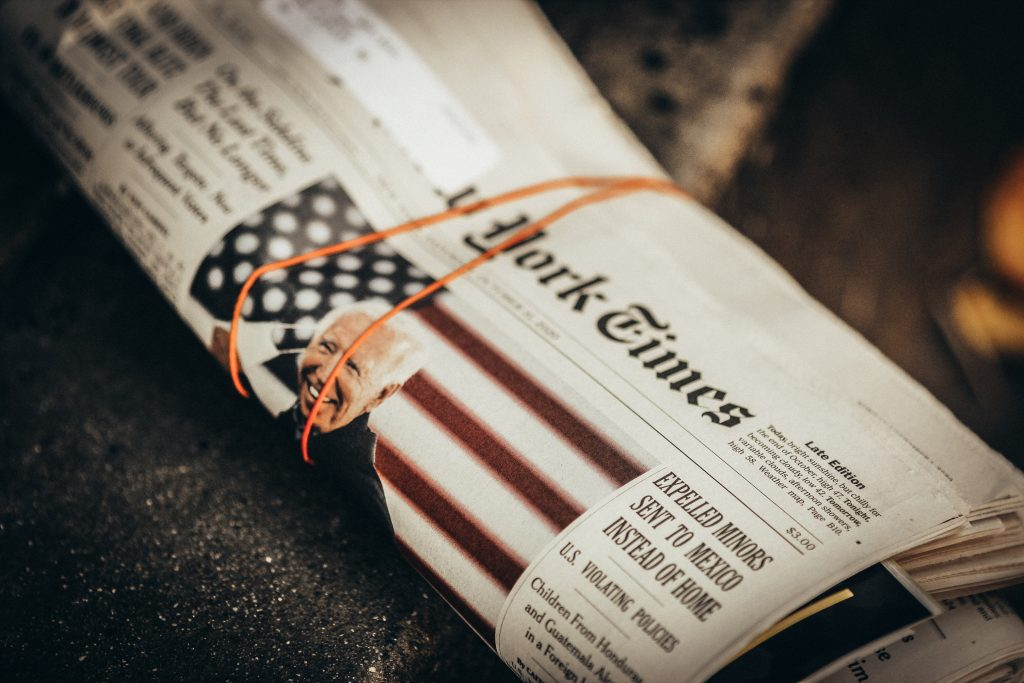 A photo of the New York Times newspaper