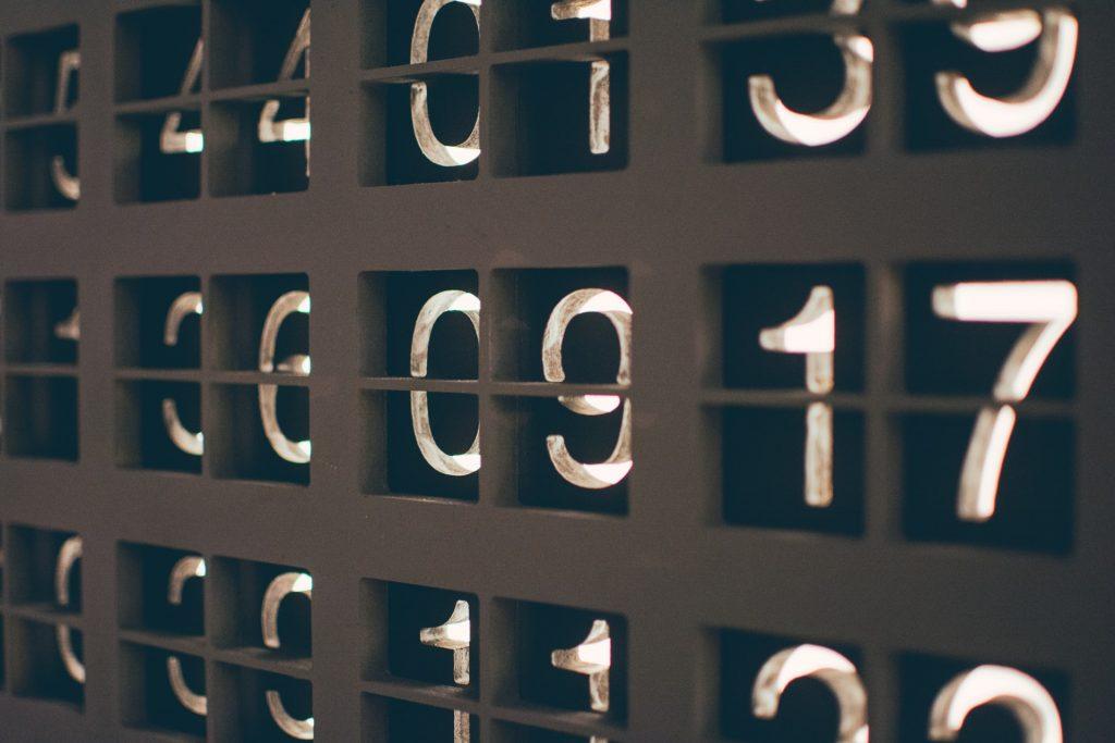 A lit display of various numbers